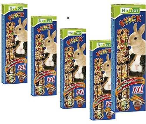 Nestor 5x Meerschweinchen Kaninchen Futter Leckerbissen 2 Knabberstangen XXL Gemüse & Honig (Kaninchen-gemüse-sticks)
