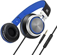 Promate Lightweight On Ear Stereo Headphones Wired Headset With Padded Headband, Spectrum-Blue