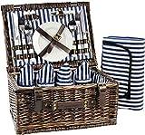 INNO STAGE Picknickorb für 4 Personen, Picknick Set mit Besteck und Decke, Weiden Geschenkkorb Set für Camping, Picknick und Outdoor Party, Blaue Streifen