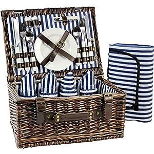 INNO STAGE Picknickorb für 4 Personen, Picknick Set mit Besteck und Decke, Weiden Geschenkkorb Set für Camping, Picknick…