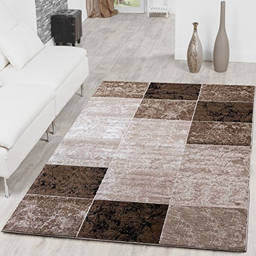 Tappeto con design a quadri, stile moderno, tappeto da salotto, colore: marrone, beige, crema, 120 x 170 cm