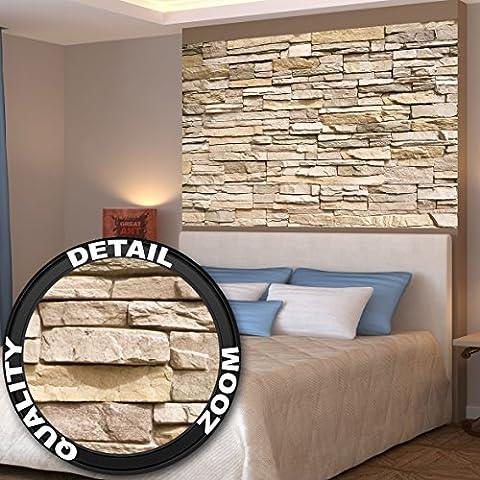 Papier peint photo d'un mur de pierres – Image murale d'un mur asiatique de pierres en beige et marron clair -décoration murale pierres by GREAT ART (140 x 100 cm)