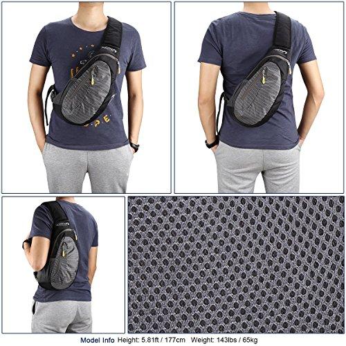 G4Free Leichte Brust Sling Schulter Rucksäcke Nette Umhängetasche Dreieck Pack Rucksack zum Wandern Radfahren Reisen oder Multipurpose Tagepacks Schwarz-Grau
