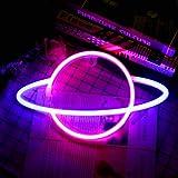 YUNYODA Planet Neon Light, Planet Neon Signs Leuchten Art Wall Decor Licht-wasserdichtes LED-Nachtlicht -Batterie oder USB-be
