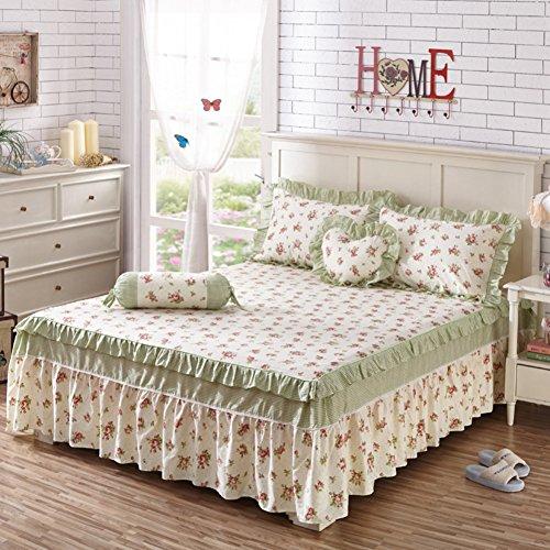HAOLY Coton Ruffle Couverture de lit,Coton Jupe de lit Pièce Simple Anti-dérapant Couverture de lit,Feuilles-A 200x220x45cm(79x87x18inch)