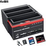 """Hard Drive Docking Station, KuWFi 2.5 """"/3.5"""" Porte USB 3.0 a 2 SATA 1 Porta IDE Disco rigido esterno Unità disco fisso Lettor"""