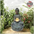 MP Essentials Garden & Outdoor Solar Buddha Water Feature Fountain with Light Ball
