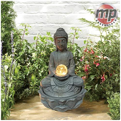 MP Essentials Garten & Outdoor Solar Buddha Wasserspiel Brunnen mit Licht Ball