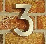nanook Hausnummer Style - 3D-Design Edelstahl gebürstet - 15,5 x 3 cm - Nr. 3