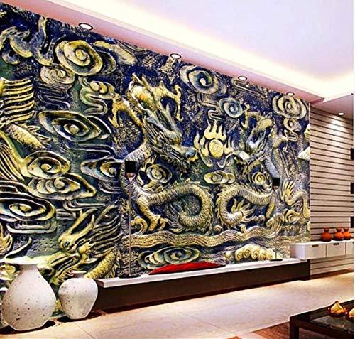 Yirenfeng Papel Tapiz Personalizado Dragón Chino Tallado En Madera Tv Fondo De La Pared Decoración Del Hogar Sala De Estar Dormitorio Mural 3D Wallpaper400X250CM