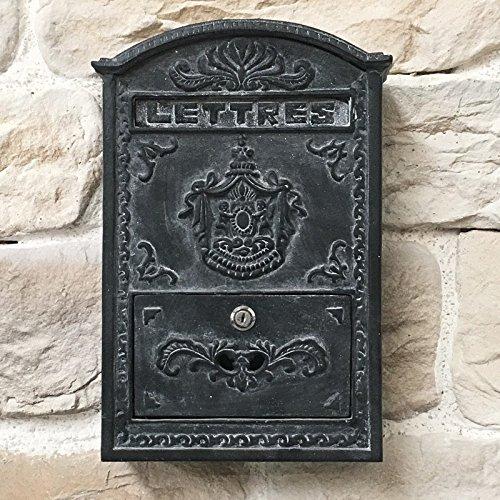 Style Ancienne Boîte à Lettre Murale Boîte aux Lettres Fonte Gris 42 cm