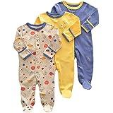 Bebé Niños Niñas Mono Mameluco de Manga Larga Body Algodón Peleles Comodo Pijama Regalo de Recien Nacido, Pack de 3, 0/3 Mese