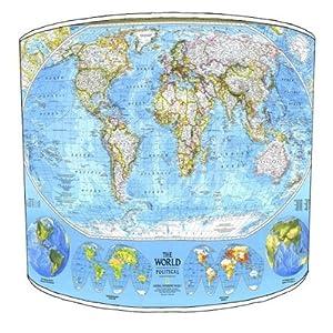 Premier de arroz – mesa National Geographic pantalla cilíndrica de seda sintética de arroz de mapa del mundo