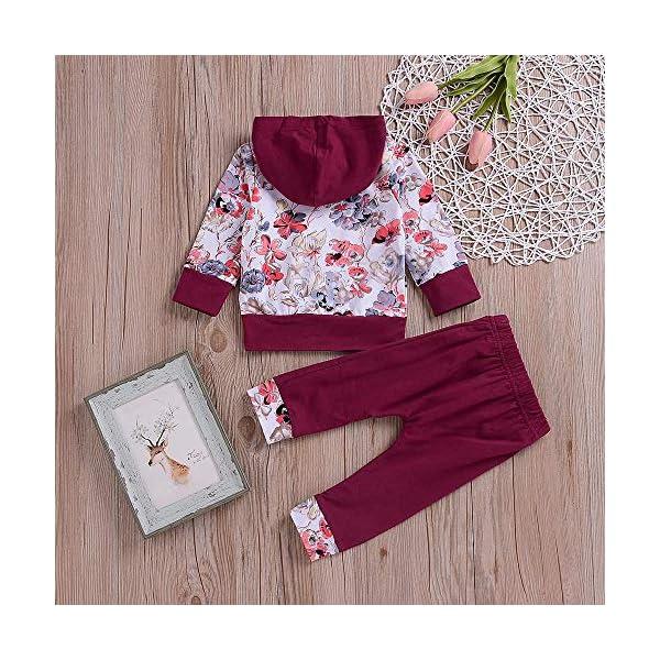 Ropa Bebe otoño Invierno 2018, Recién Nacido bebé niño niña Floral Tops Sudadera con Capucha Pantalones Trajes 2pcs… 2