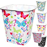 Unbekannt Papierkorb / Behälter -  bunter Motiv - Mix  - 7,5 Liter - 4 ECKIG - aus Kunststoff - Mülleimer / Eimer - Abfalleimer - Schule - für Kinderschreibtisch / Ab..