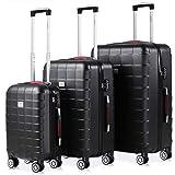 Set de 3 valises rigides Noir 4 Roues 360° Bagage 2 poignées de Transport Plastique ABS Serrure Cadenas à Combinaison Malle V