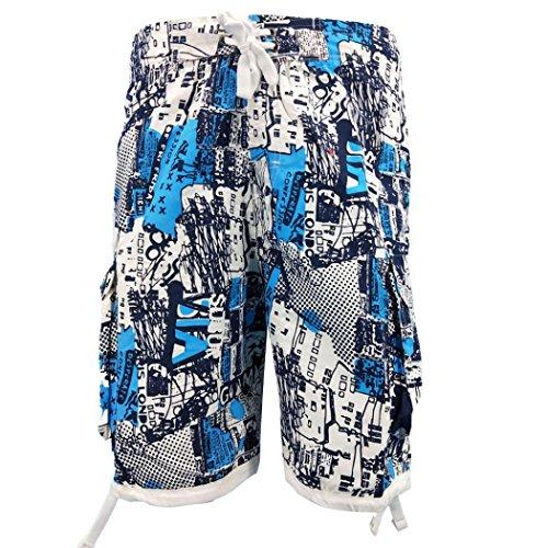 (Malloom-Schlauch Männer Casual 3D Gedruckt Strand Arbeit Lässige Männer Kurze Hosen Shorts Lose Fit Weiche Patchwork Sporthosen)