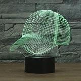 Wmshpeds Detroit Tigers Baseball Cap 3D Bunte Noten-LED-Tischleuchte 3D Leuchtet Visuelle Lampe