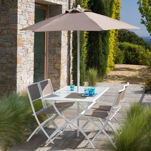 Salon de jardin taupe avec parasol offert