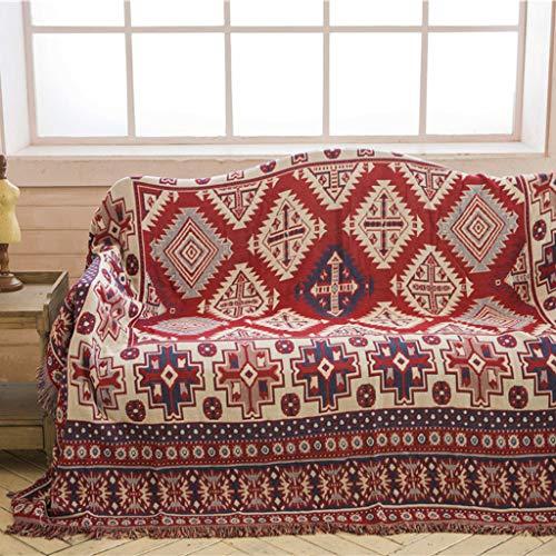 YYRZGW Sofabezug, doppelseitig Bohemia Stuhl Handtuch Decke Multifunktionsdecke mit Quasten für Couchbett Tisch Foto Wand Reise-230x330cm-Rotes Quadrat