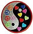 Yin Yang Peace Paix Symbole Patch '' 7,5 x 7,5 cm '' - Écusson brodé Ecussons Imprimés Ecussons Thermocollants Broderie Sur Vetement Ecusson Hippie