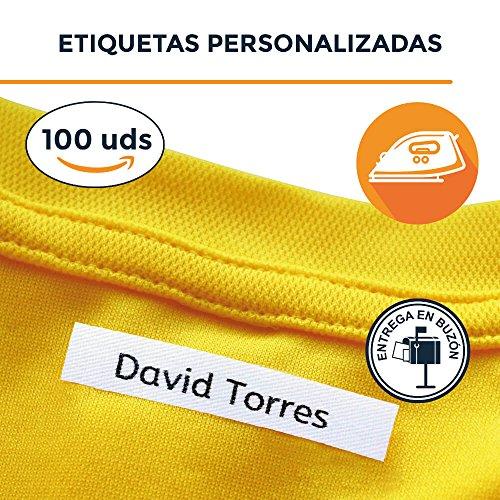 100 Etiquetas personalizadas para nombre. Etiquetas de tela con CERTIFICADO ECOLÓGICO