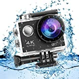 LESHP Action Cam 4K Full HD, 2 batterie da 1050mAh, WIFI, 16MP, Subacquea e Impermeabile, 170° Grandangolare Sport Action Camera e Kit Accessori per Ciclismo Nuoto