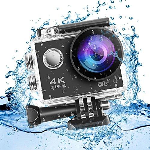 Galleria fotografica LESHP Action Cam 4K Full HD, 2 batterie da 1050mAh, WIFI, 16MP, Subacquea e Impermeabile, 170° Grandangolare Sport Action Camera e Kit Accessori per Ciclismo Nuoto