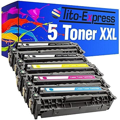 5x Calidad de Express platinumserie tóner XXL compatible con HP CC530A CC531A CC532A CC533A XL