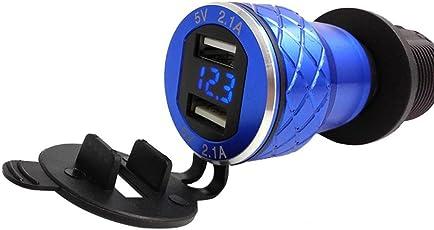 MMLC 4.2A Aluminium Motorrad Dual USB Ladegerät Din Buchse Voltmeter für Motorrad USB Charger (Blau)