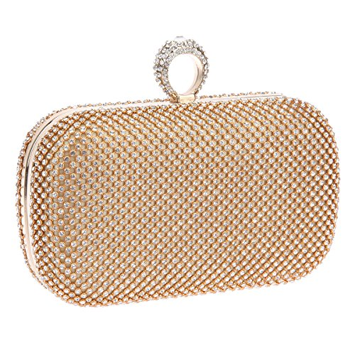 Bonjanvye Knuckles Shining Clutch Purses for Women Handbag and Evening Bags Multicolor Gold