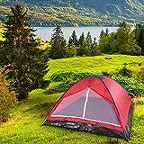 Yukatana Cenote 4 Mann Zelt Campingzelt Kuppelzelt Festival Zelt für 4 Personen (wasserabweisendes Polyester, Innen-Maße: 240 x 140 x 210 cm, verstärkter, wasserfester Zeltboden., Gewicht: 2,3 kg) rot -