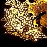 iMusi LED Luci Stringa, 20 LED a Batteria Stile di Stella Ferro Luci all'aperto Decorazione illuminazione Metallo Stella Forma per Giardino, Patio, Prato, Casa, Decorazioni Natalizie (Caldo Bianco)