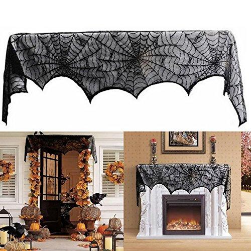 ürvorhang Tür Tisch Fenster Dekoration halbtransparente Lace Spinnennetz Halloween Vorhänge (Halloween Fenster Vorhänge)