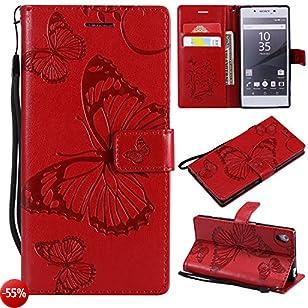 Lomogo Cover Sony Xperia Z5, Custodia Portafoglio in Pelle Porta Carta di Credito con Chiusura Magnetica per Sony Xperia Z5 - LOKTU21741 Rosso