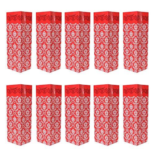 Set di 10 Sacchetti regalo per bottiglie borse portabottiglia rosse ideali per vino, spumante o champagne 36x12x10 cm