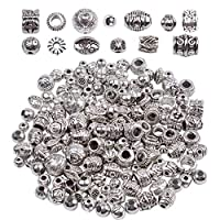 BronaGrand 100g (About 140-180pcs) Antique Silver Round Beads Jewelry Bead Charm Spacers for Jewelry Making Bracelets Necklace