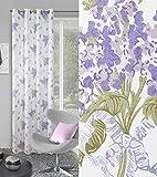 Dekorativ Vorhang Ösen 140x250 cm ARDEN weiß + violett Flieder Wohnzimmer Blumen Muster Blickdicht
