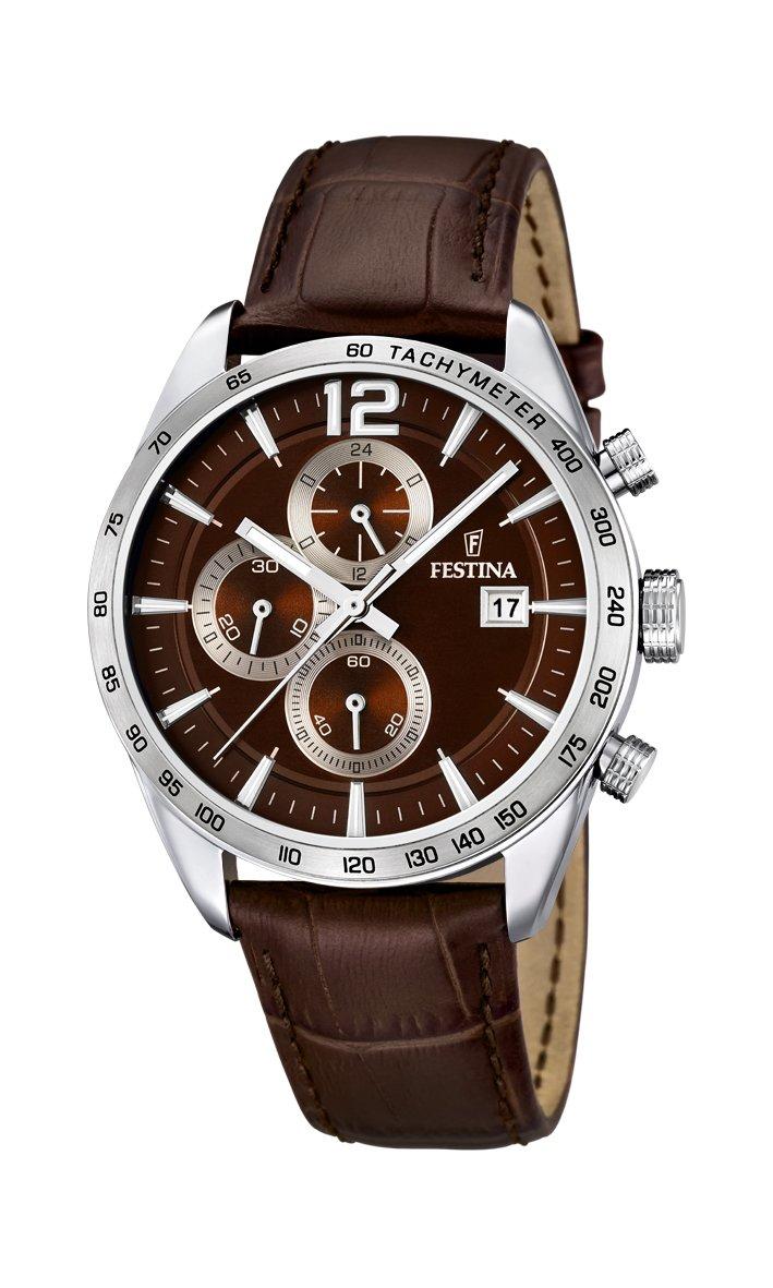 Festina Herren Chronograph Quarz Uhr mit Leder Armband F16760/2