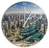 Dubai Helikoptersicht, Wanduhr Durchmesser 30cm mit weißen spitzen Zeigern und Ziffernblatt, Dekoartikel, Designuhr, Aluverbund sehr schön für Wohnzimmer, Kinderzimmer, Arbeitszimmer