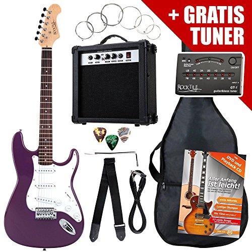 Rocktile ST Pack guitarra eléctr Set lila incl. ampl, bolsa, afinador, cable, correa, cuerdas