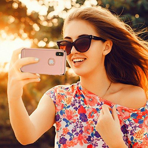 iPhone X Hülle, RANVOO 3-Teilige Dünn Slim Hart Hardcase Styliche Hochwertig Schutzhülle Schale Handy Hülle für Apple iPhone X/iphone 10 Case Cover [Apple Logo sichtbar], Dunkleblau Rosegold