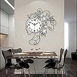TDF-Ragazze creativo lusso Diamante parete orologio stile moda orologio silenzioso tavolo in ferro battuto (senza batteria) 65 * 50cmRegalo di regalo di festa di Natal