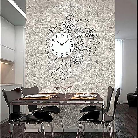 DHGY-Filles créatif luxe diamant mural horloge fer forgé style mode