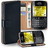 Pochette OneFlow pour BlackBerry Bold 9900 housse Cover avec fentes pour cartes | Flip Case étui housse téléphone portable à rabat | Pochette téléphone portable étui de protection accessoires téléphone portable protection bumper en DEEP-BLACK