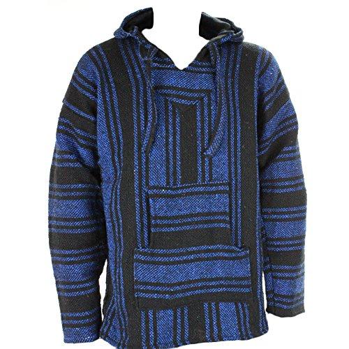 Sudadera con capucha estilo mexicano, diseño hippy, talla S, M, L, XL y XXL, color negro y azul Blue and Black XX-Large