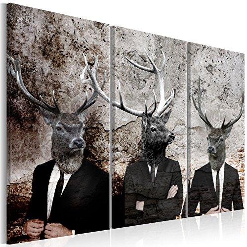 murando - Bilder Hirsch 90x60 cm Vlies Leinwandbild 3 Teilig Kunstdruck modern Wandbilder XXL Wanddekoration Design Wand Bild - Tiere Abstrakt g-C-0059-b-e