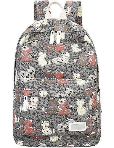 MYOSOTIS510leggero tela cute Cat stile preppy zaino borsa per computer portatile grigio Grey taglia unica