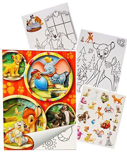 """Sticker & Malblock - \"""" Disney Tiere / Bambi - König der Löwen - Dschungelbuch - Dumbo \"""" - Malbuch / Malblock - A5 mit Aufkleber - Puuh Bär Tigger - Ferkel - Malvorlagen Malbücher für Jungen & Mädchen - Sammelalbum - Vorlage Klein Stickerblock - Kinder Kind groß z.B. für Stickeralbum"""