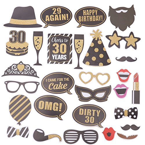 BESTOYARD 30. Geburtstag Photo Booth Props DIY Kit Dekorative Geburtstag Party Requisiten 29 Stücke
